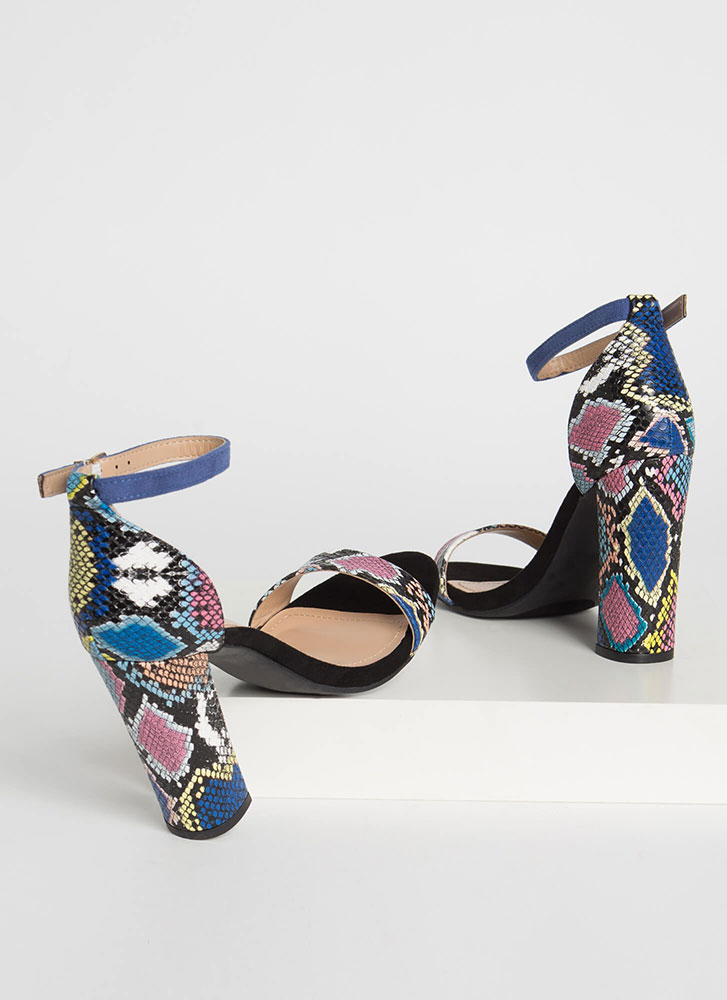 Snake Charmer Chunky Ankle Strap Heels BLUE