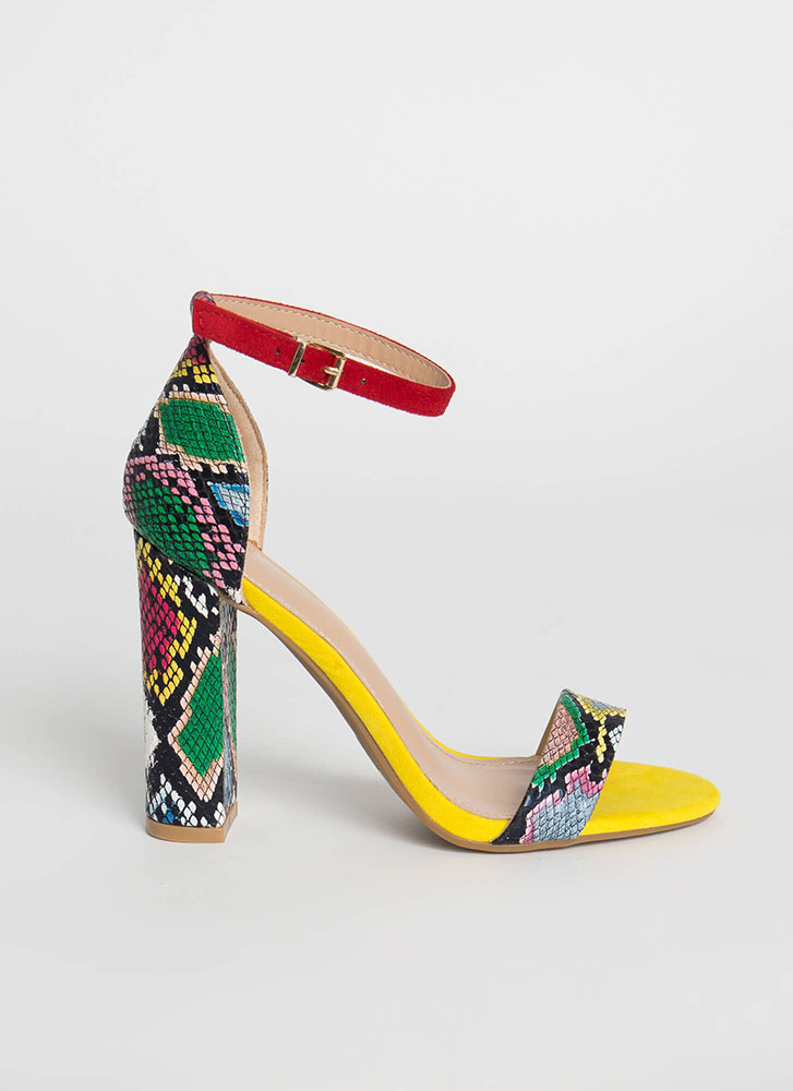 Snake Charmer Chunky Ankle Strap Heels YELLOW