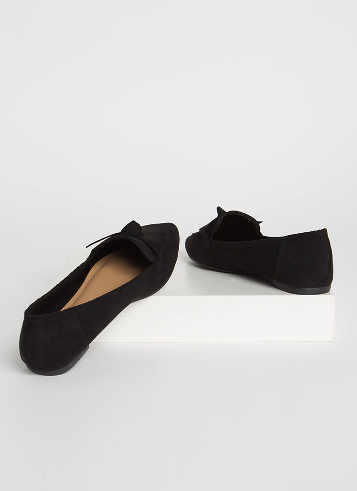 Knot To Worry Pointy Smoking Flats BLACK