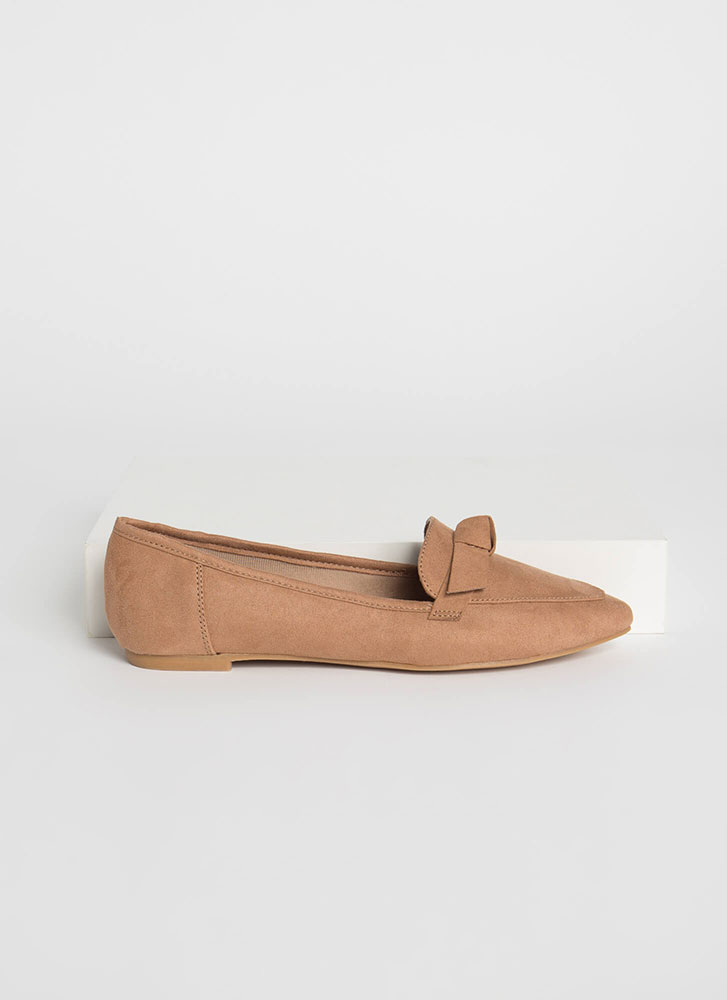 Knot To Worry Pointy Smoking Flats CAMEL