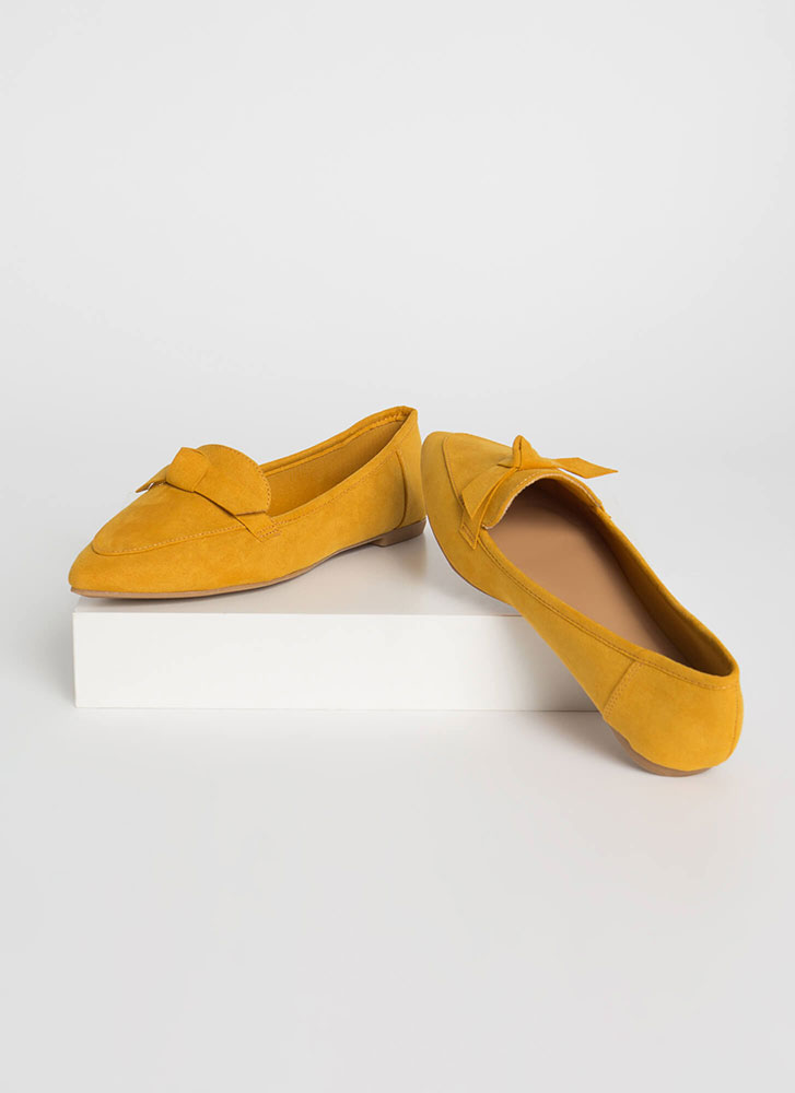 Knot To Worry Pointy Smoking Flats MUSTARD