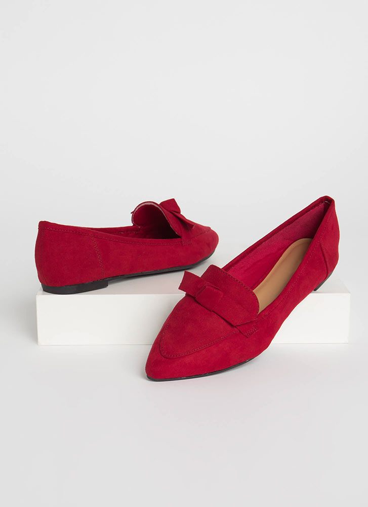 Knot To Worry Pointy Smoking Flats RED