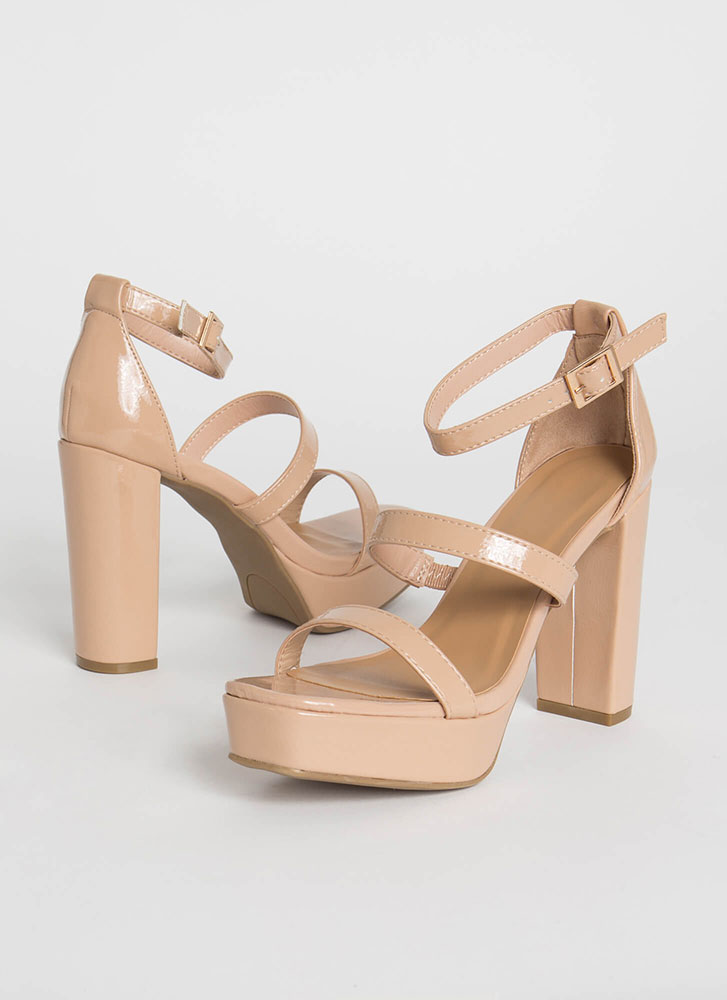Triple It Strappy Faux Patent Platforms NUDE
