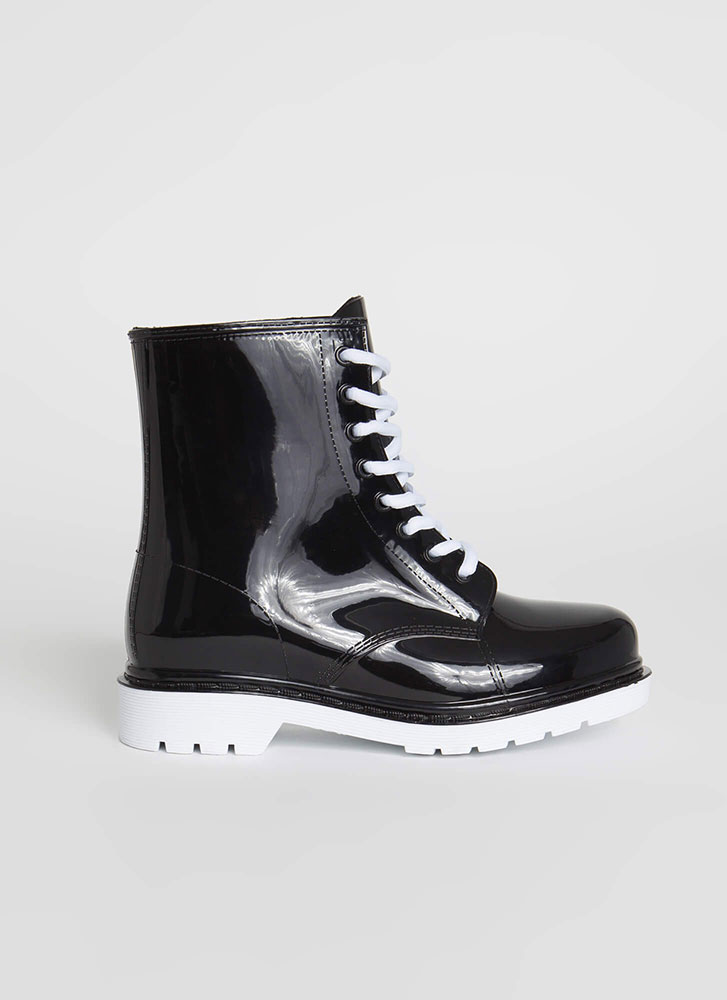 Too Cool For School Glossy Lace-Up Boots WHITE