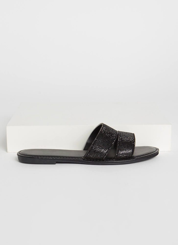 Everyday Sparkle Jeweled Slide Sandals BLACK