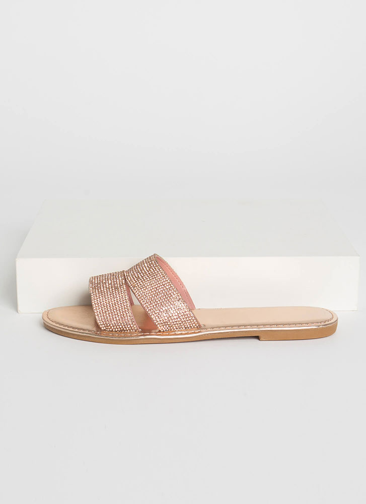 Everyday Sparkle Jeweled Slide Sandals ROSEGOLD