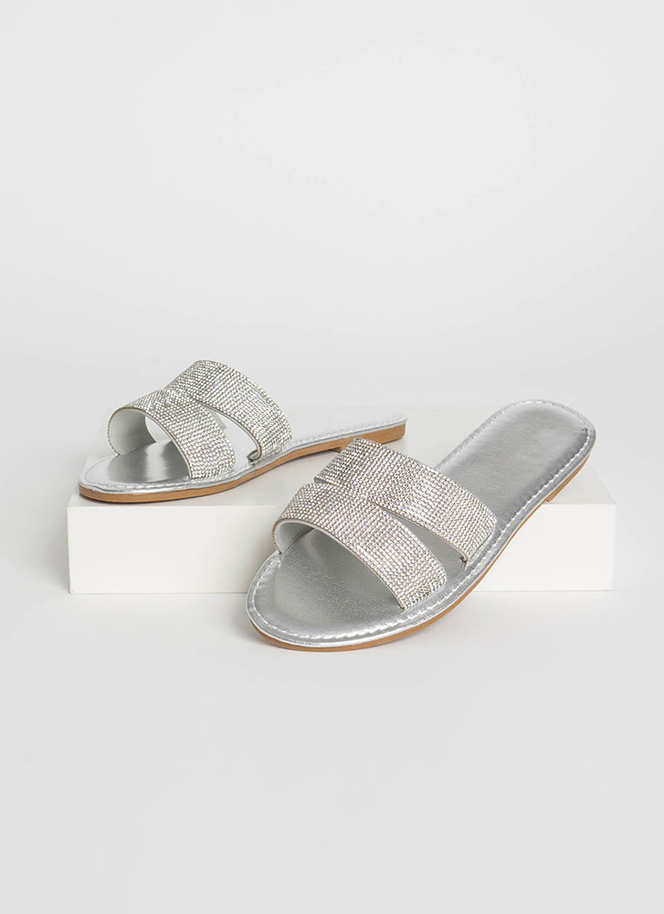 Everyday Sparkle Jeweled Slide Sandals SILVER
