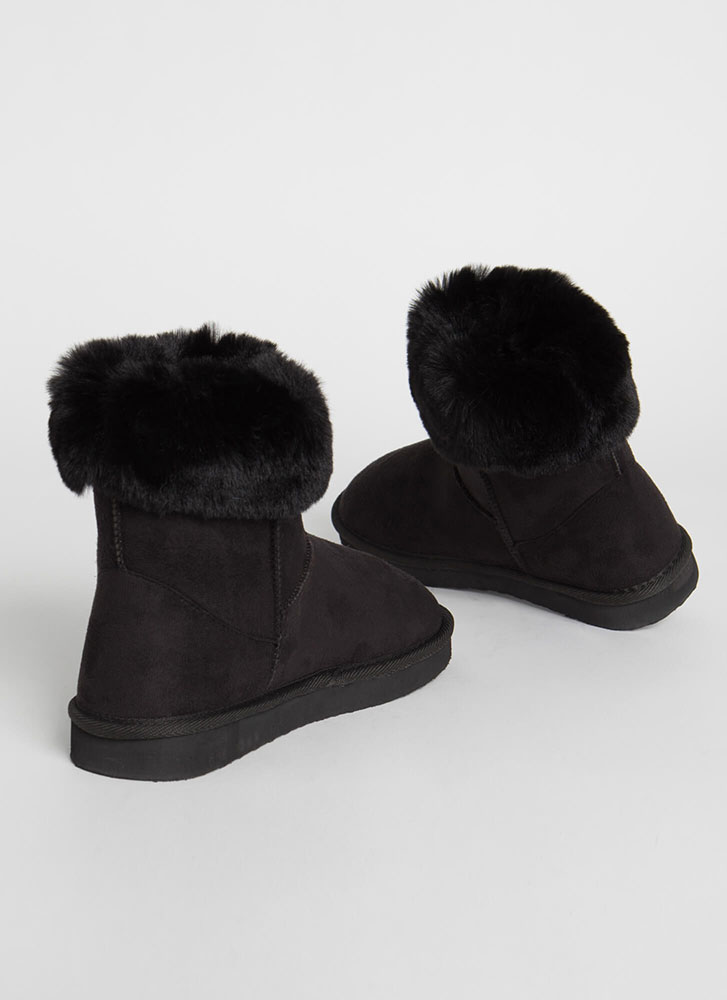 Fur Ever And Ever Short Cuffed Boots BLACK