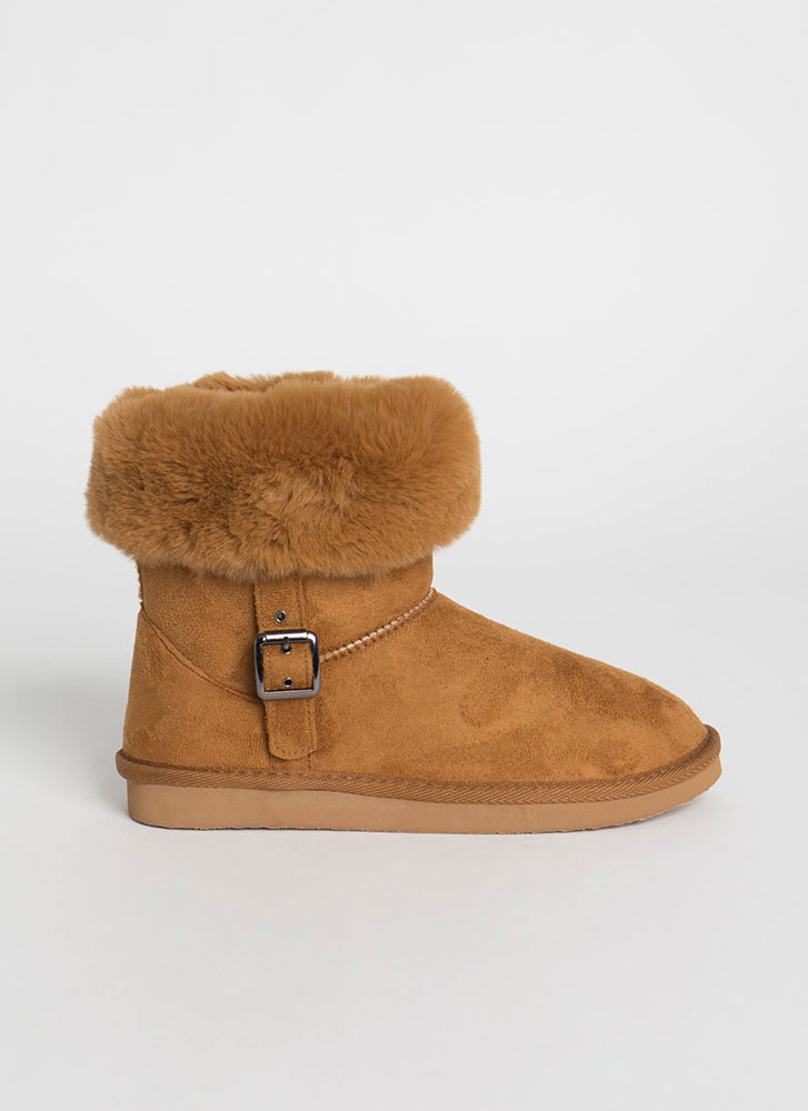 Fur Ever And Ever Short Cuffed Boots CHESTNUT