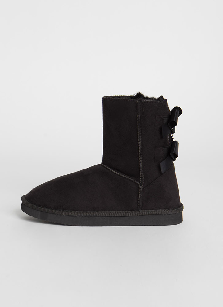 You Bow Girl Short Faux Suede Boots BLACK