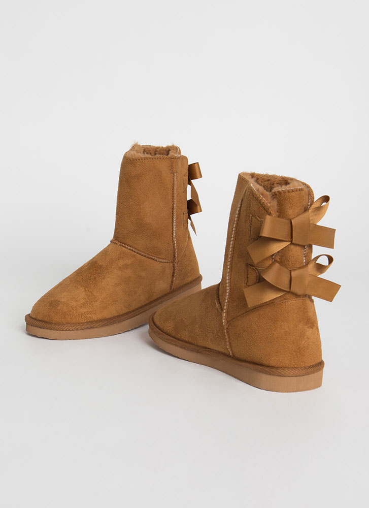 You Bow Girl Short Faux Suede Boots CHESTNUT