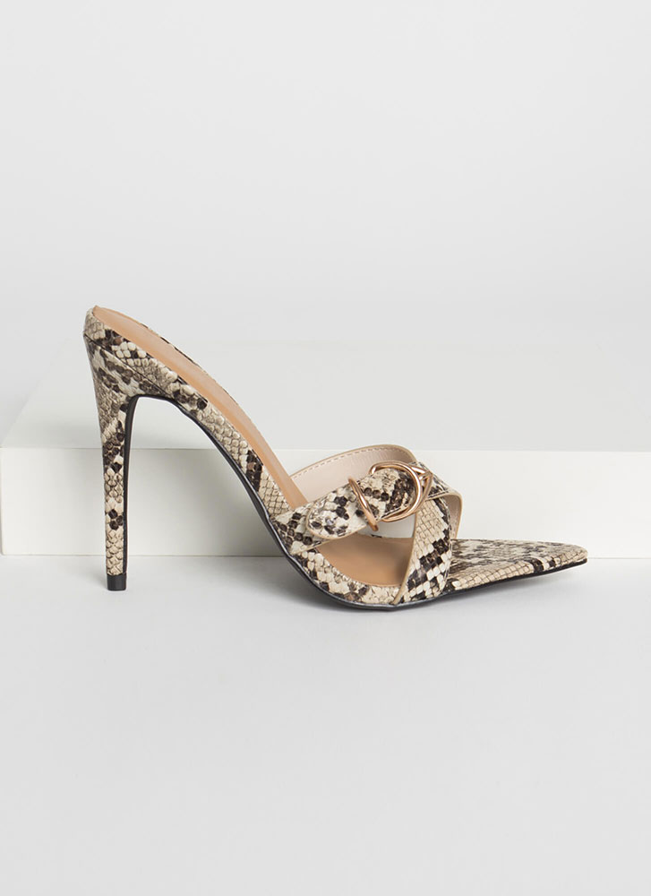 Ring Your X Strappy Faux Snake Heels BEIGE