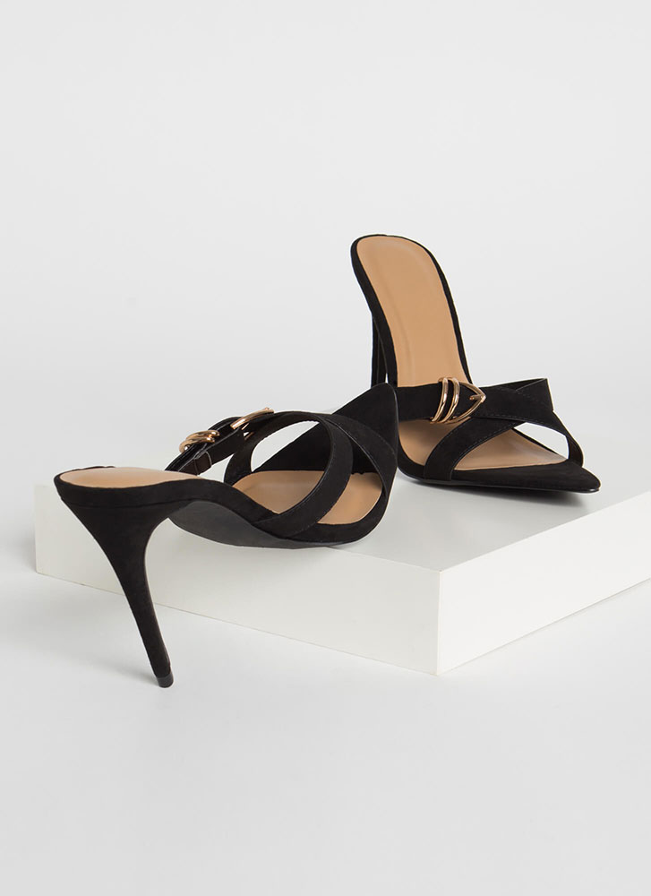 Ring Your X Strappy Faux Suede Heels BLACK