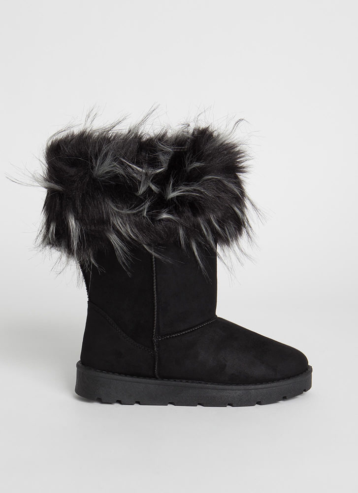 Snow Bunnies Trimmed Faux Fur Boots BLACK