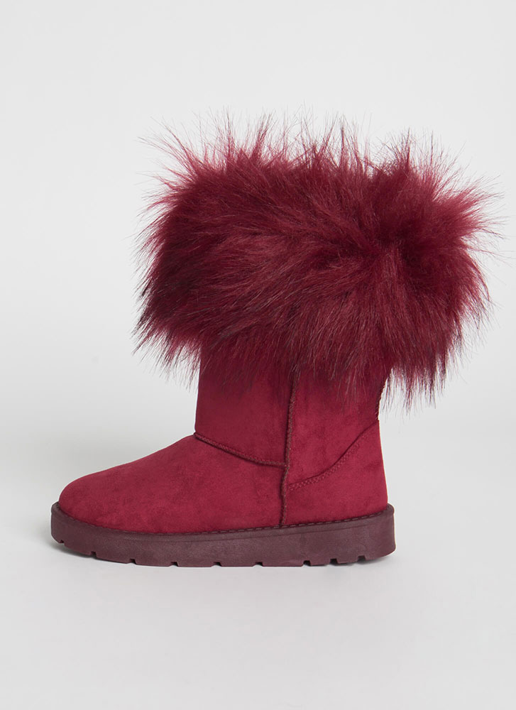 Snow Bunnies Trimmed Faux Fur Boots BURGUNDY