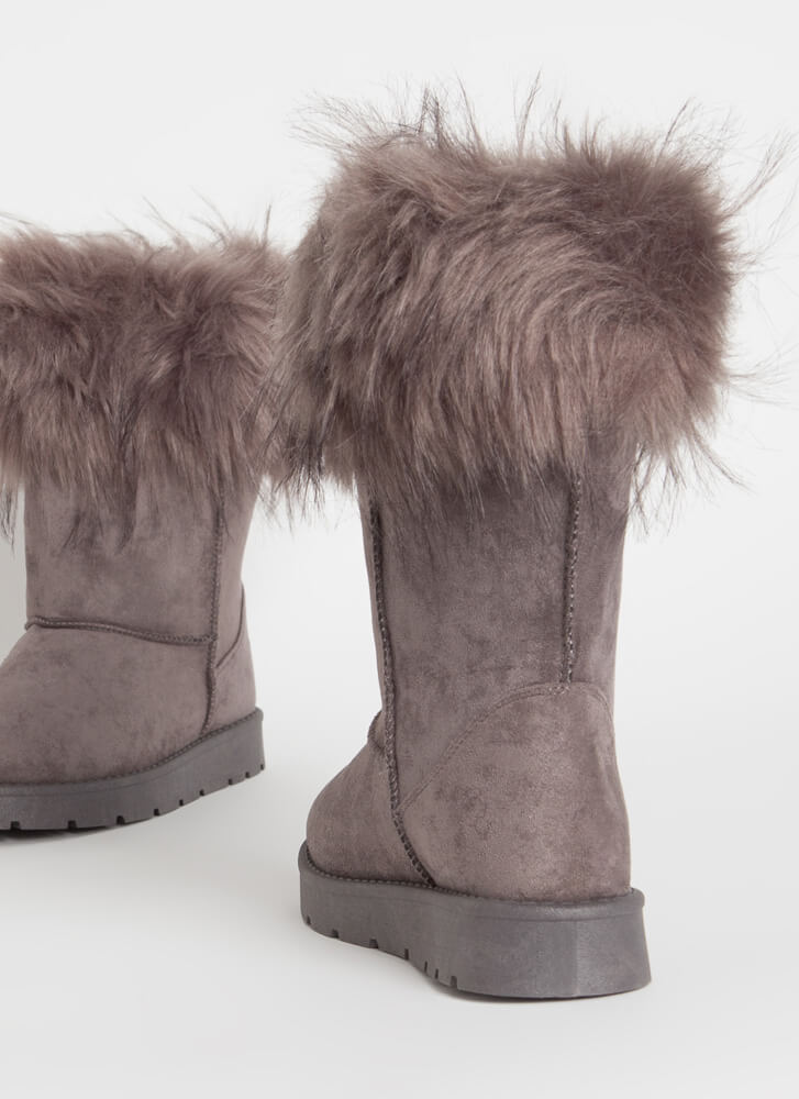 Snow Bunnies Trimmed Faux Fur Boots GREY