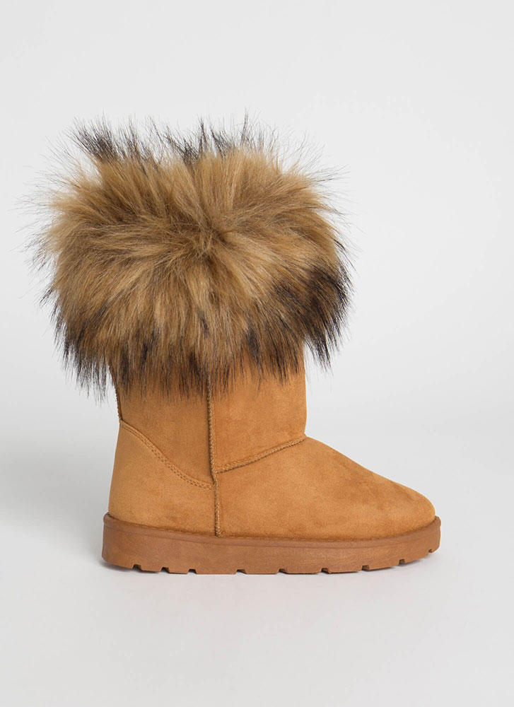 Snow Bunnies Trimmed Faux Fur Boots TAN