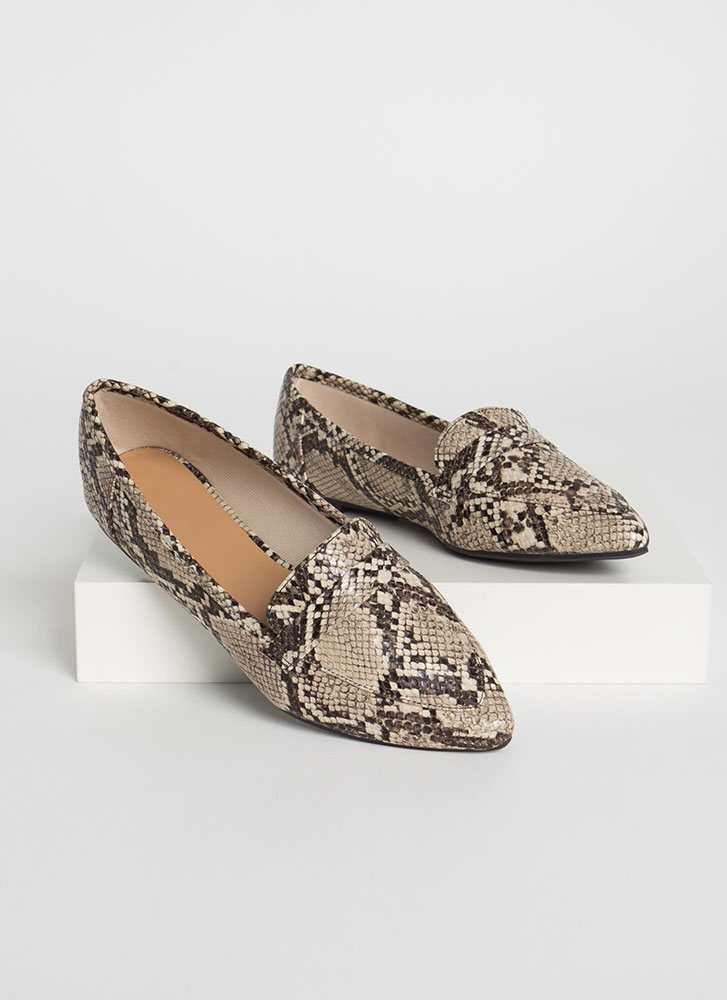 Fashion Diary Faux Snake Loafer Flats BEIGE