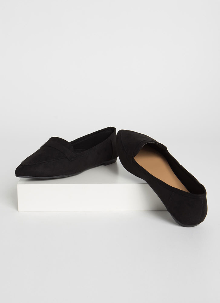 Fashion Diary Faux Suede Loafer Flats BLACK