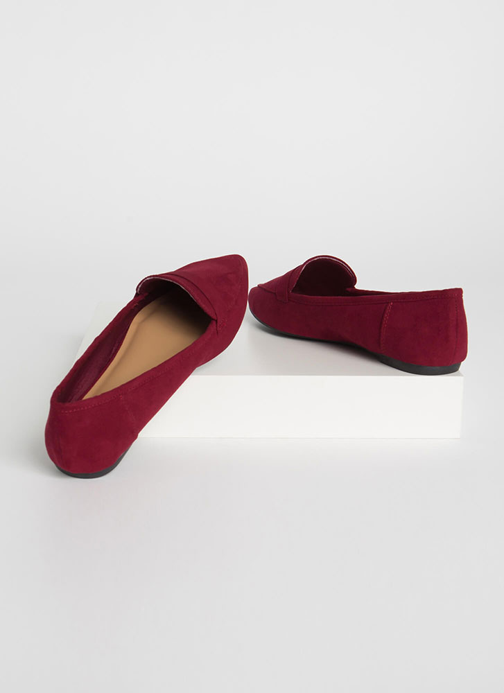 Fashion Diary Faux Suede Loafer Flats WINE