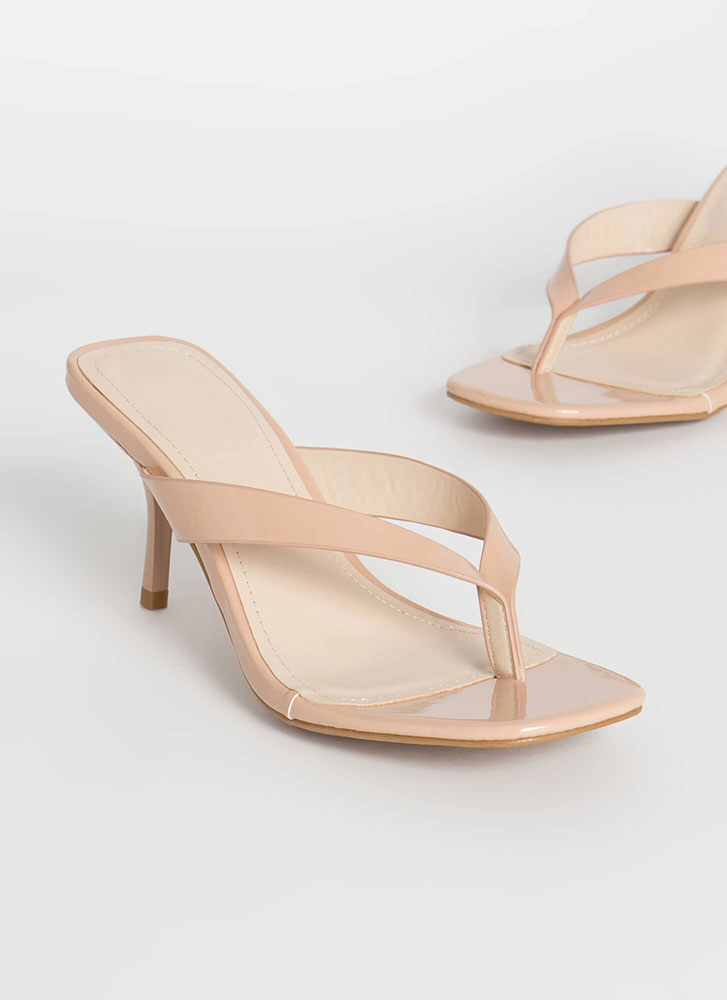 Beachy Vibe Faux Patent Thong Heels NUDE