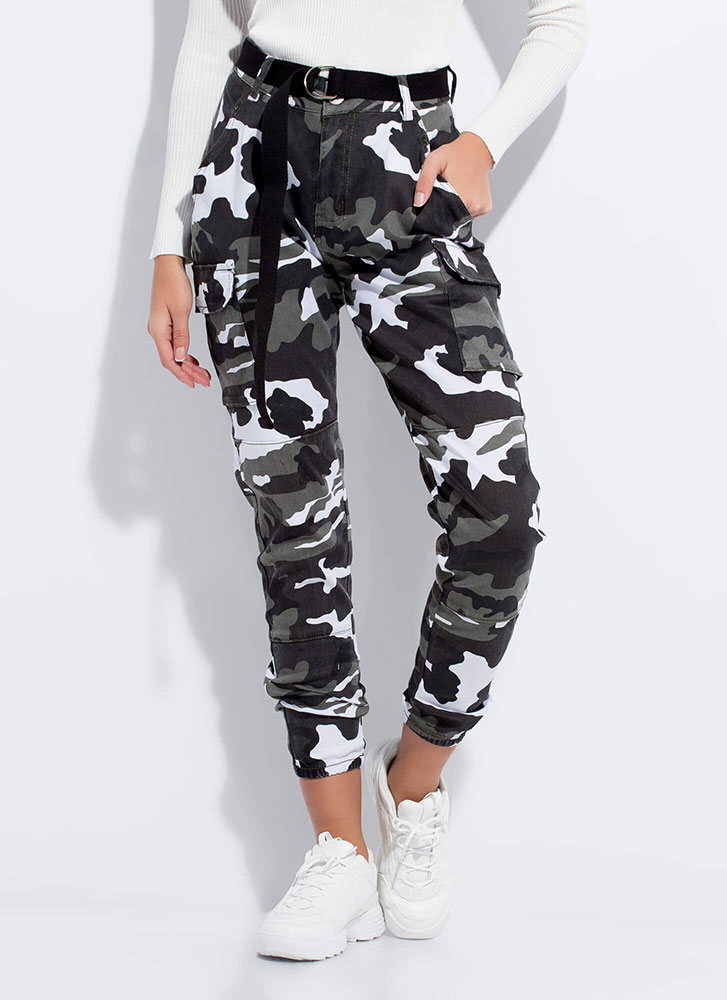 Cool In Camo Belted Cargo Joggers GREY