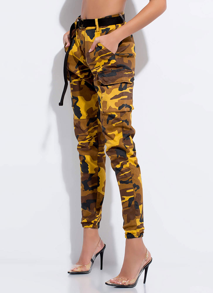 Cool In Camo Belted Cargo Joggers MUSTARD