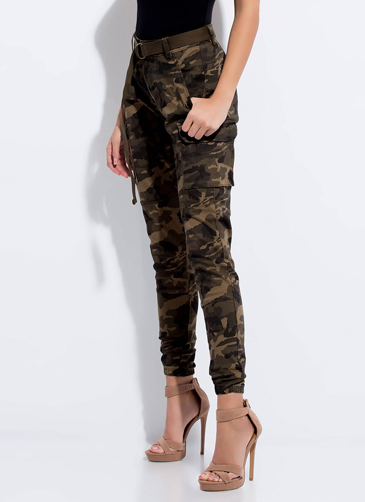 Cool In Camo Belted Cargo Joggers OLIVE