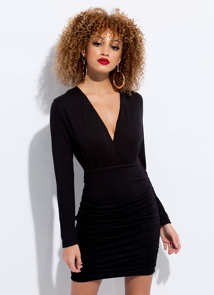 Absolutely Shirr Ruched Knit Minidress BLACK