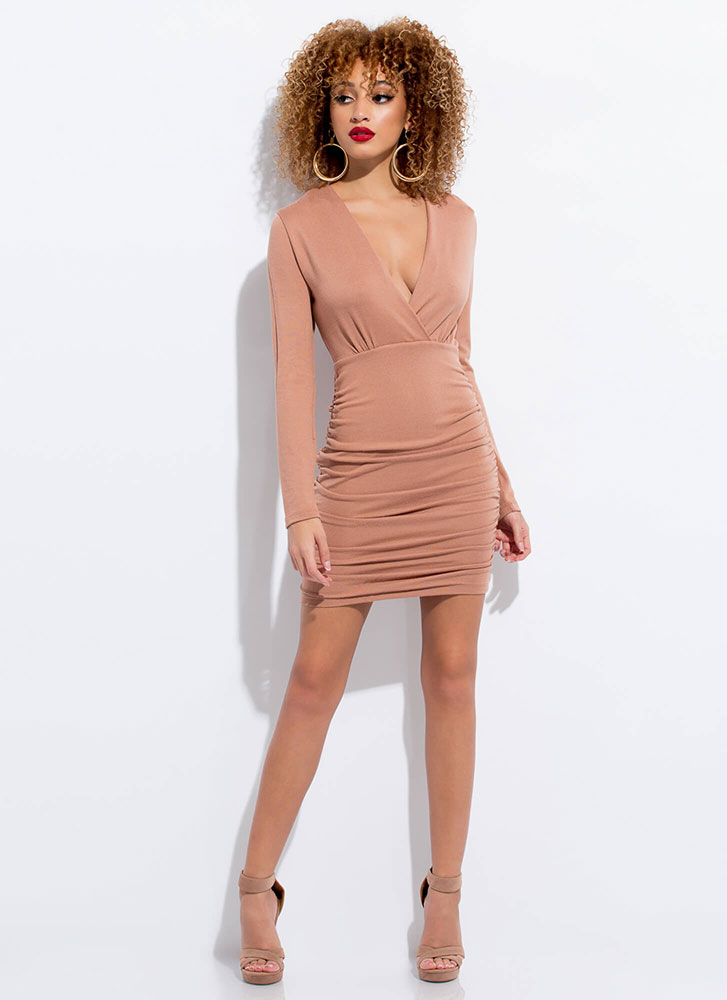 Absolutely Shirr Ruched Knit Minidress TAUPE