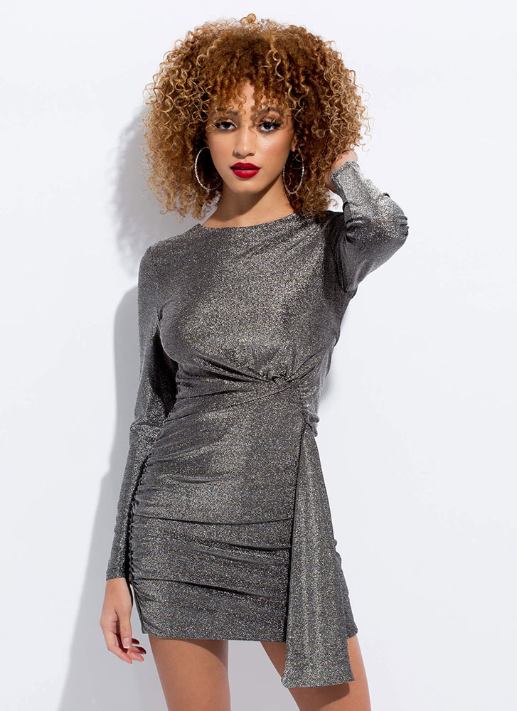 Drape Escape Sparkly Ruched Minidress SILVER
