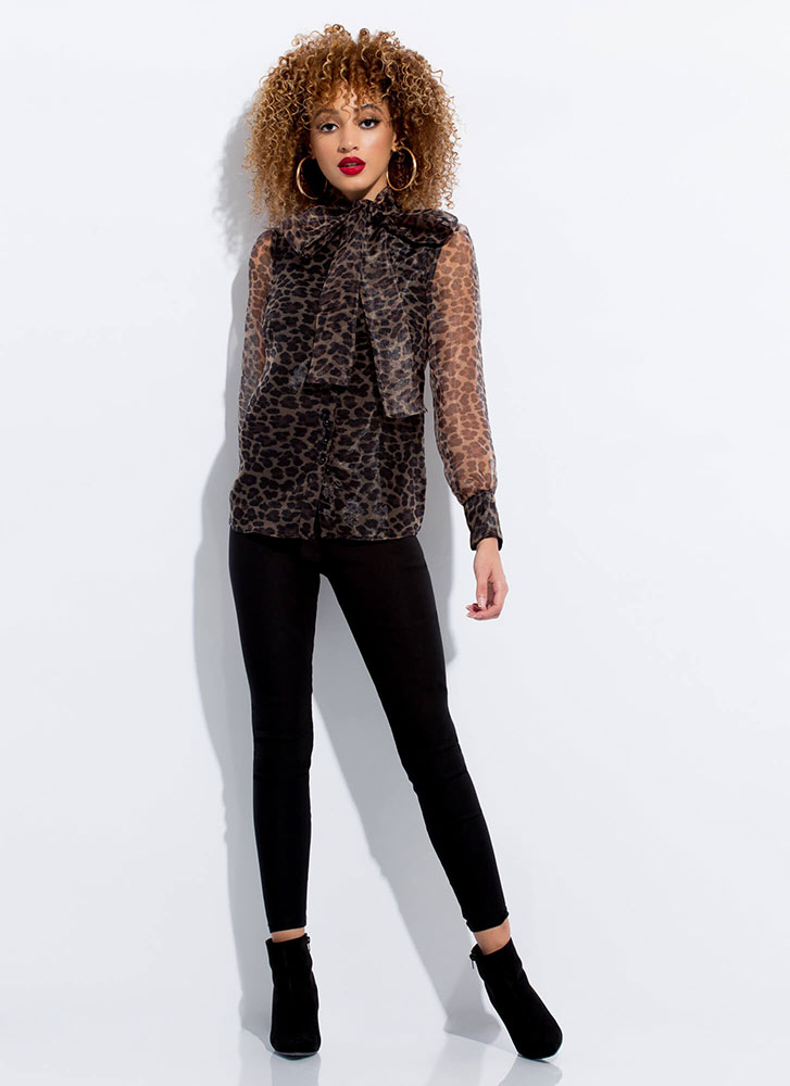 Leopard Lady Sheer Bow-Front Blouse LEOPARD