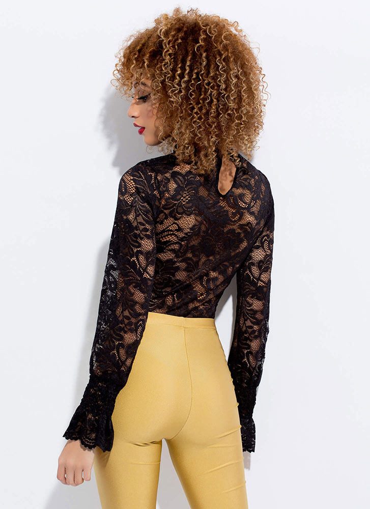 Bell-isima Sheer Floral Lace Top BLACK