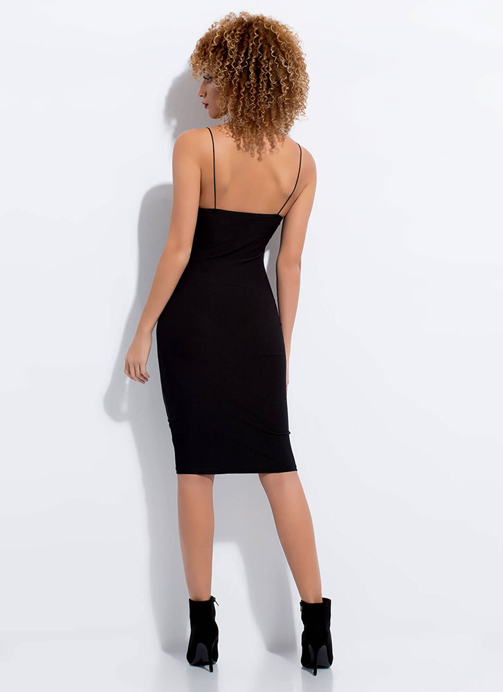 Slip Him Your Number Basic Midi Dress BLACK