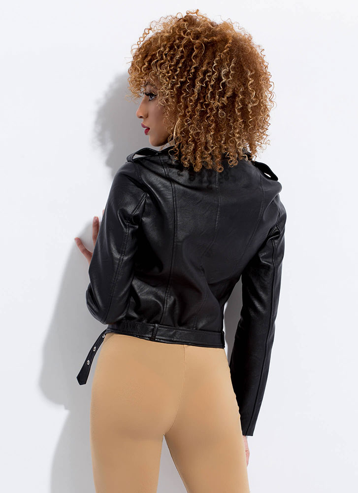 Keep Your Cool Faux Leather Moto Jacket BLACK