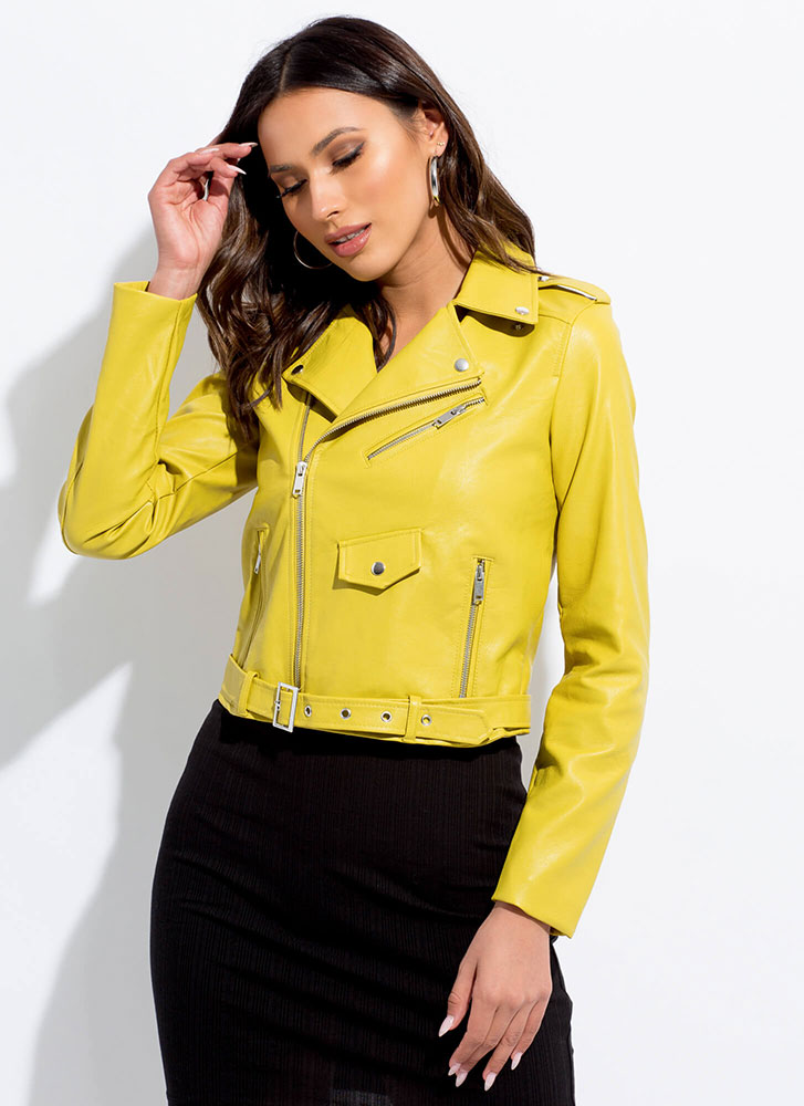 Keep Your Cool Faux Leather Moto Jacket LIME