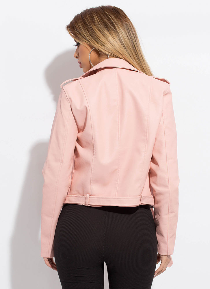 Keep Your Cool Faux Leather Moto Jacket PINK