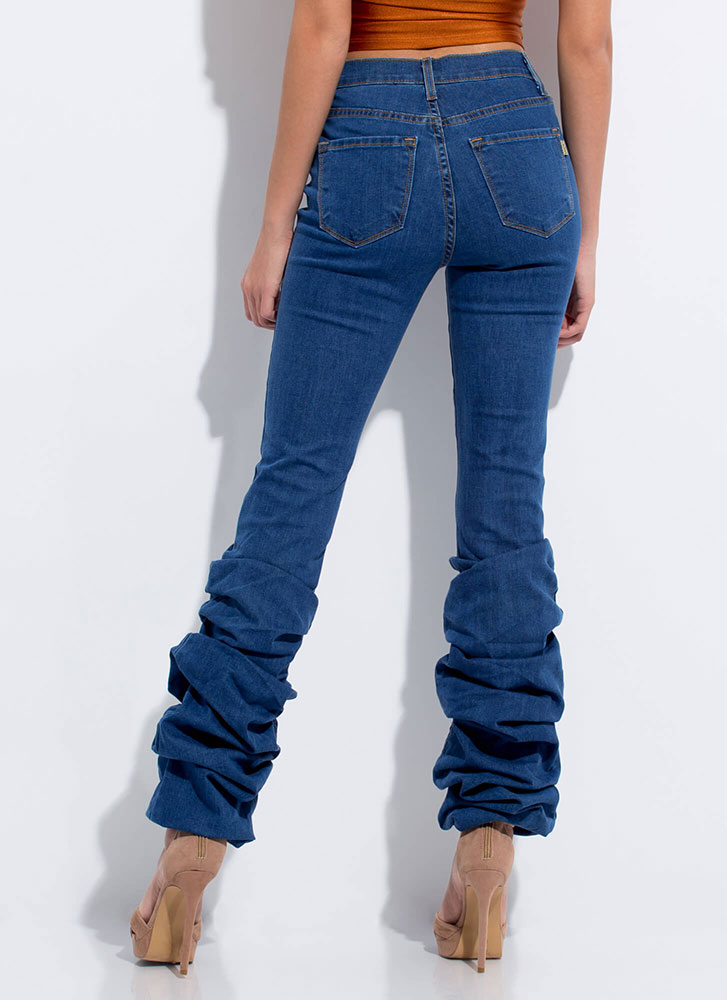 Love You Bunches Scrunched Washed Jeans DKBLUE