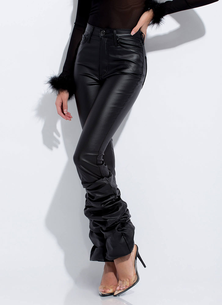 Good Bunch Scrunched Faux Leather Pants BLACK
