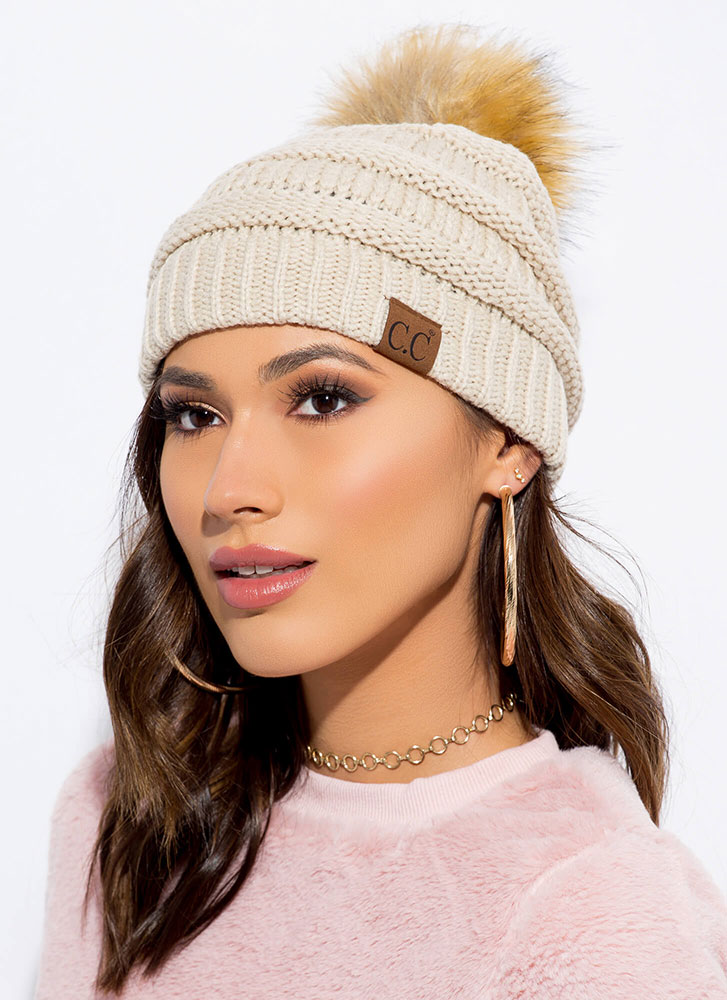 Good Fur You Pom-Pom Beanie BEIGE