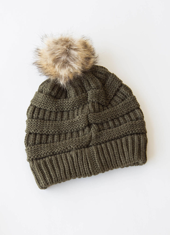 Good Fur You Pom-Pom Beanie OLIVE