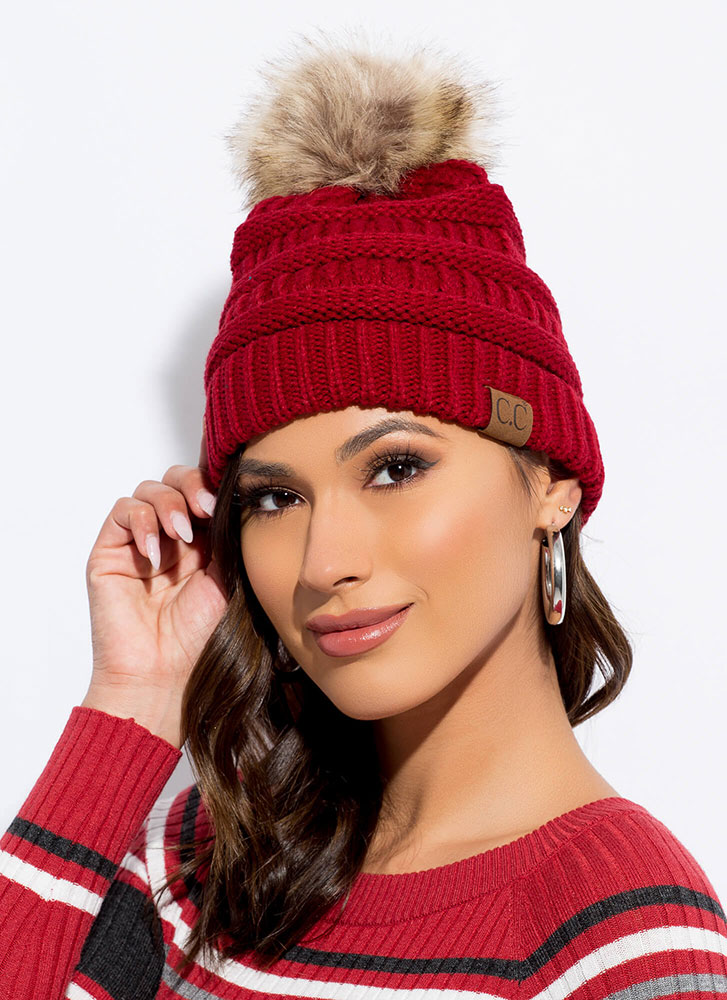 Good Fur You Pom-Pom Beanie RED