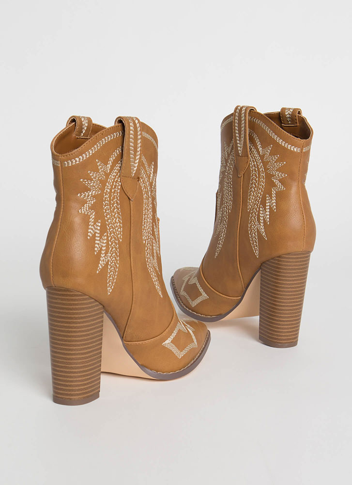 Yeehaw Chunky Scaled Cowgirl Booties TAN