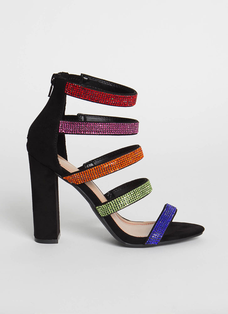 Sparkly Straps Chunky Jeweled Heels MULTI