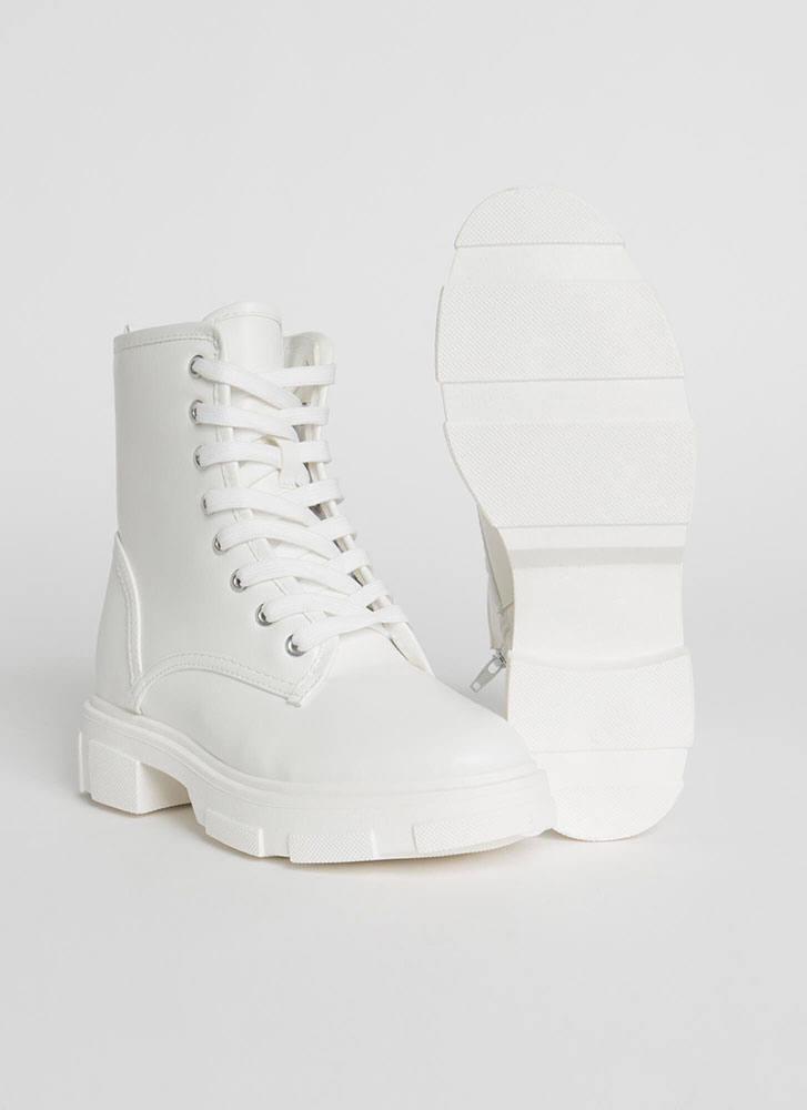 Combat Mode Faux Leather Boots WHITE (Final Sale)