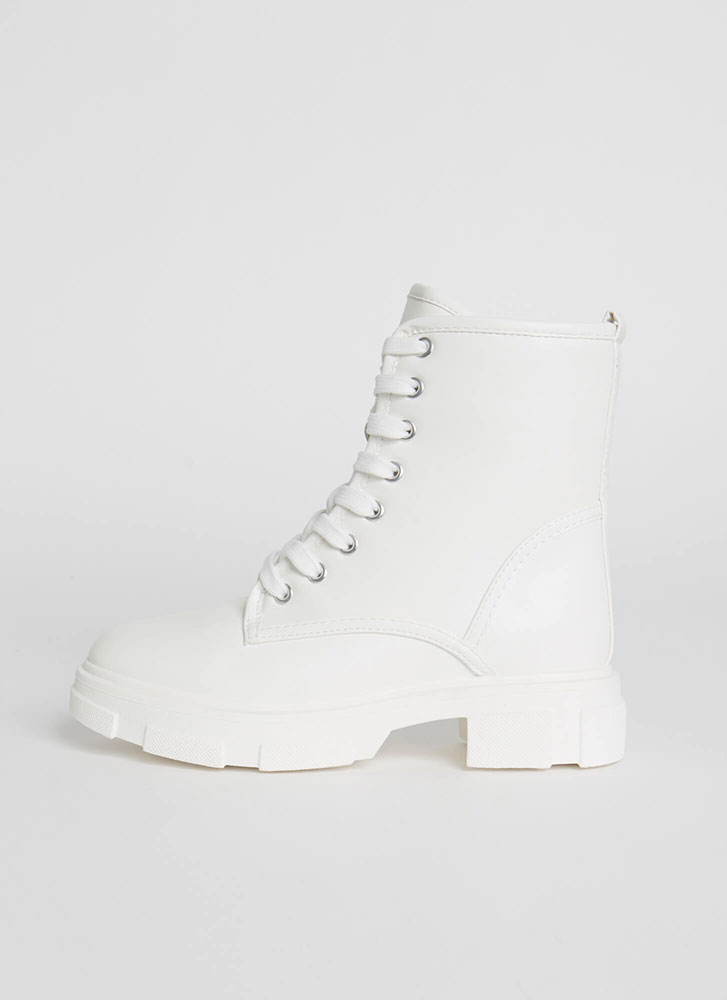 Combat Mode Faux Leather Boots WHITE