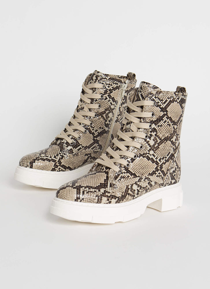 Combat Mode Faux Snake Lace-Up Boots BEIGE