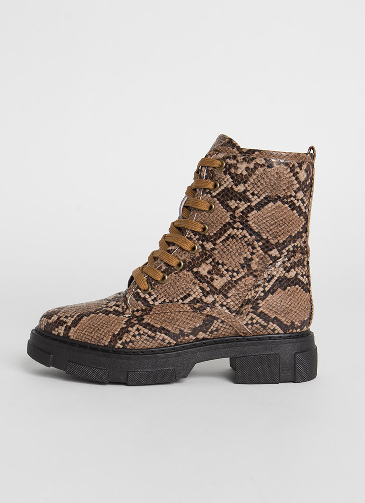 Combat Mode Faux Snake Lace-Up Boots TAN
