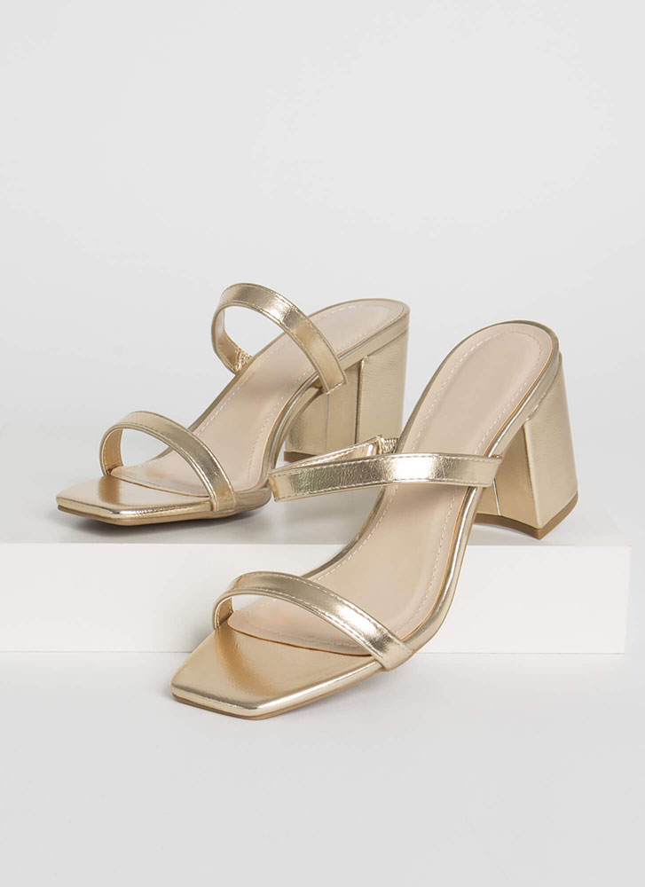 Forever Yours Strappy Block Heels GOLD
