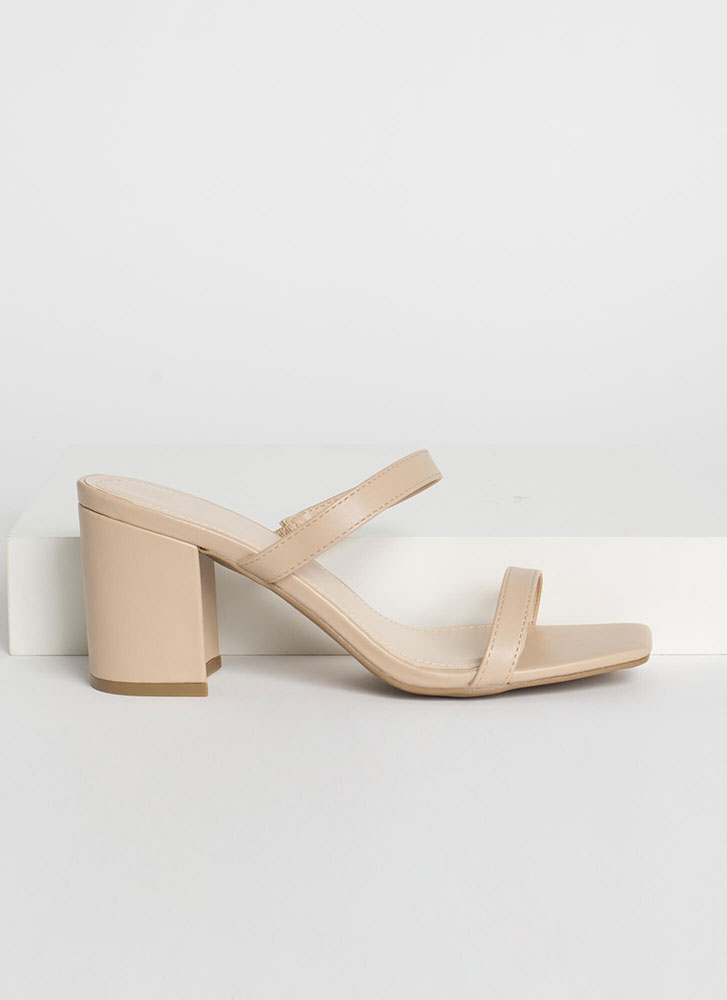 Forever Yours Strappy Block Heels NUDE